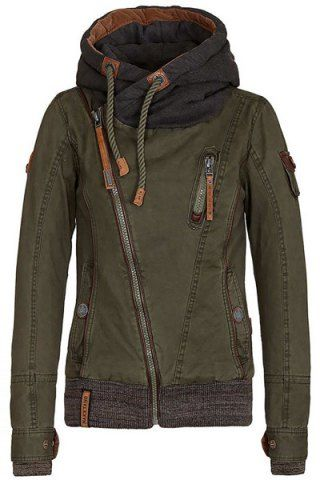 Active Hooded Skew Zippered Long Sleeve Thick Hoodie For Women