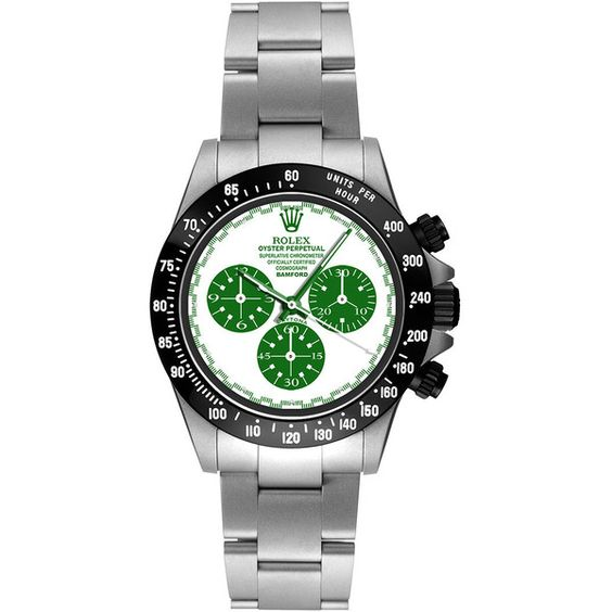 Bamford Watch Department Steel Daytona Paul Newman With Green And... (€27.595) ❤ liked on Polyvore featuring jewelry, watches, green watches, bracelet watches, steel bracelet, bamford watch department e chrono watches