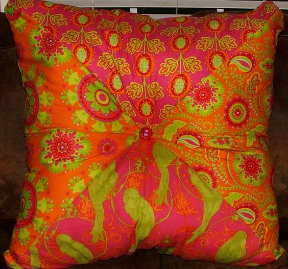 Extra Large Decorative Pillows : Orange and Pink Extra Large Stuffed Square Pillow/ Floor Pillow / Accent Pillow / Indian Pillow ...