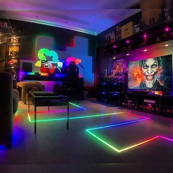 Led Strip Light W Remote Control Game Room Small Game Rooms Video Game Room Design