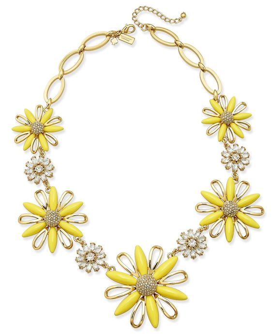kate spade new york 12k Gold-Plated Crystal and Yellow Stone Daisy Statement Necklace