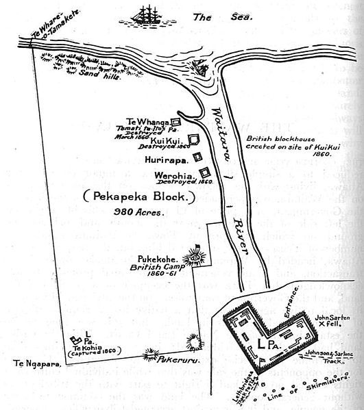 Plan of the Pekapeka Block, Waitara. (Inset, Te Kohia pa, called the 'L' pa from its shape.) This Day in History: Mar 28,1860: First Taranaki War: The Battle of Waireka begins. http://dingeengoete.blogspot.com/