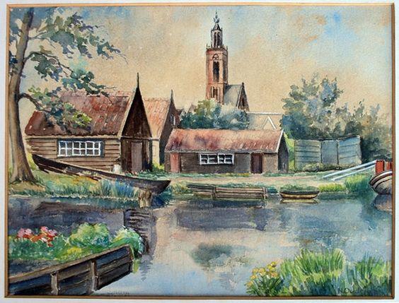 Aquarel, Gezicht op Edam ,20e eeuw,  N. Oudejans