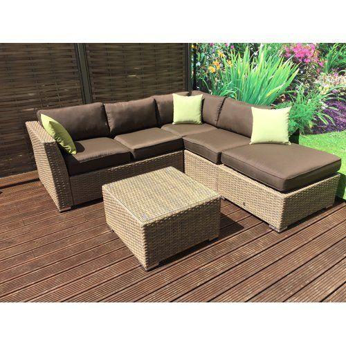 Hokku Designs Maddie 5 Seater Rattan Corner Sofa Set Wayfair Co Uk Maddie 5 Seater Rattan Effect Corner Sofa Set Hokku Designs Colour Dark Brown Cream C