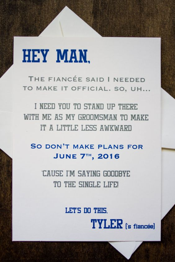 Groomsman Wedding Invite Card  Will you be my by ForeveryMomentCo