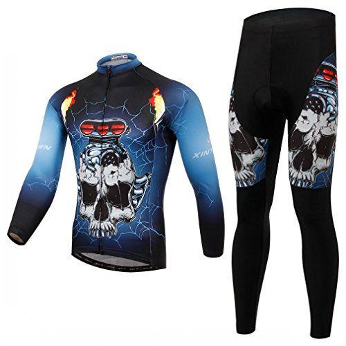 New Skull Men Cycling Jersey Long Sleeve Pants Set Bike Bicycle Clothing T-Shirt