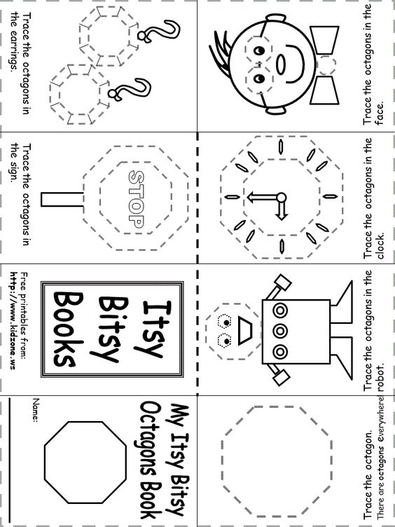 Itsy Bitsy Book Shapes Preschool Shapes Worksheets Shapes Activities Free printable octagon worksheets for