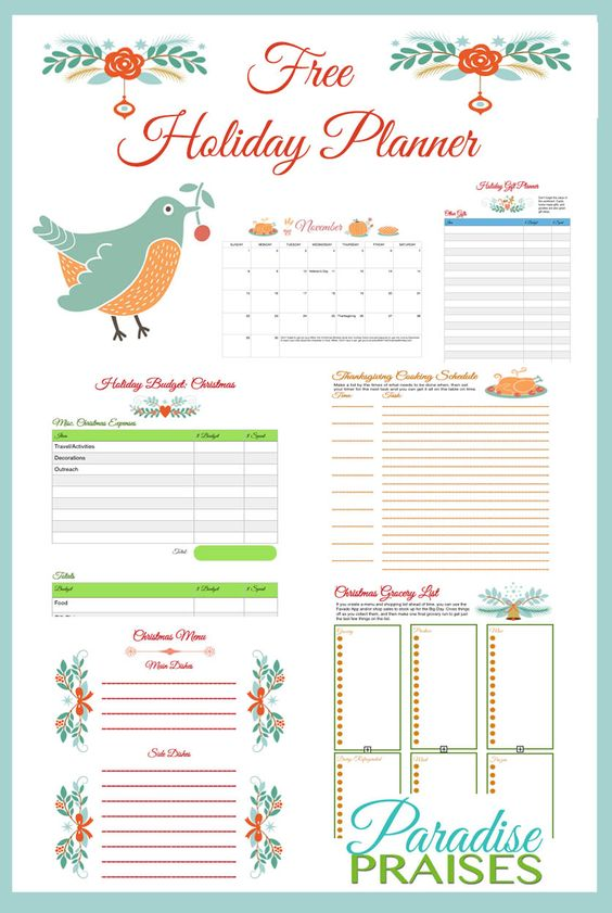 Free Holiday Planner Printable and coupons at ParadisePraises.com