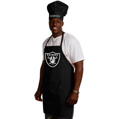 The mans gotta represent even when Q'ing!  Oakland Raiders Black Team Chef Hat and Apron Set #UltimateTailgate #Fanatics