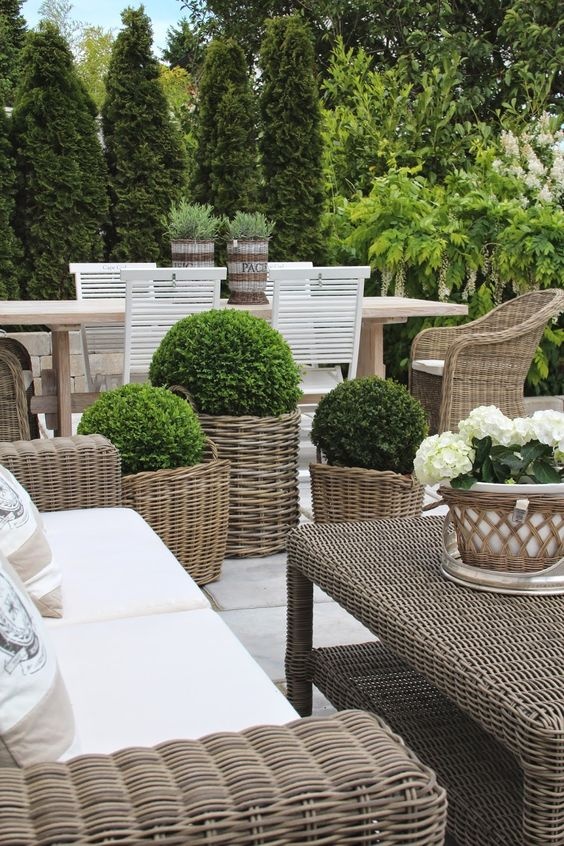 Modern country style using grey rattan kubu chairs in for Modern country style