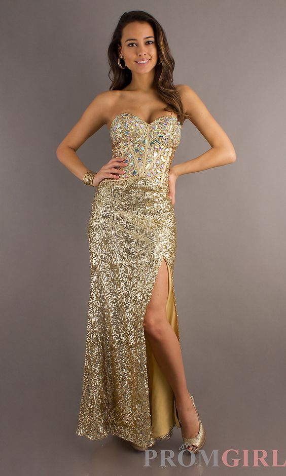 Prom Girl : Long Gold Strapless Sequin Dress | Style | Pinterest ...