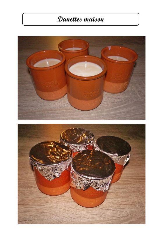 Danettes maison : Pour 4 pots - 1/2 L de lait - 2 c à soupe de sucre - 2 c à soupe de maïzena - parfum (caramel, chocolat, cappuccino, café,...). Remuer dans une casserole environ 5 min, une fois la crème épaissie, les danettes sont prêtes! Verser dans les pots et recouvrir de papier aluminium. Mettre au frigo une fois que les pots ont refroidi.