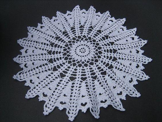 Crocheted Doily White 16 Diameter Lacy Table by CrochetByCarolyn