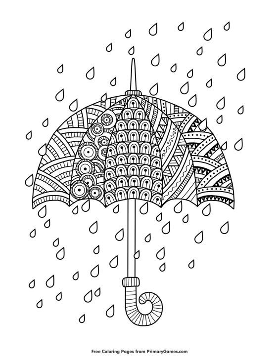 Rain Drops With Umbrella Coloring Page Free Printable Ebook