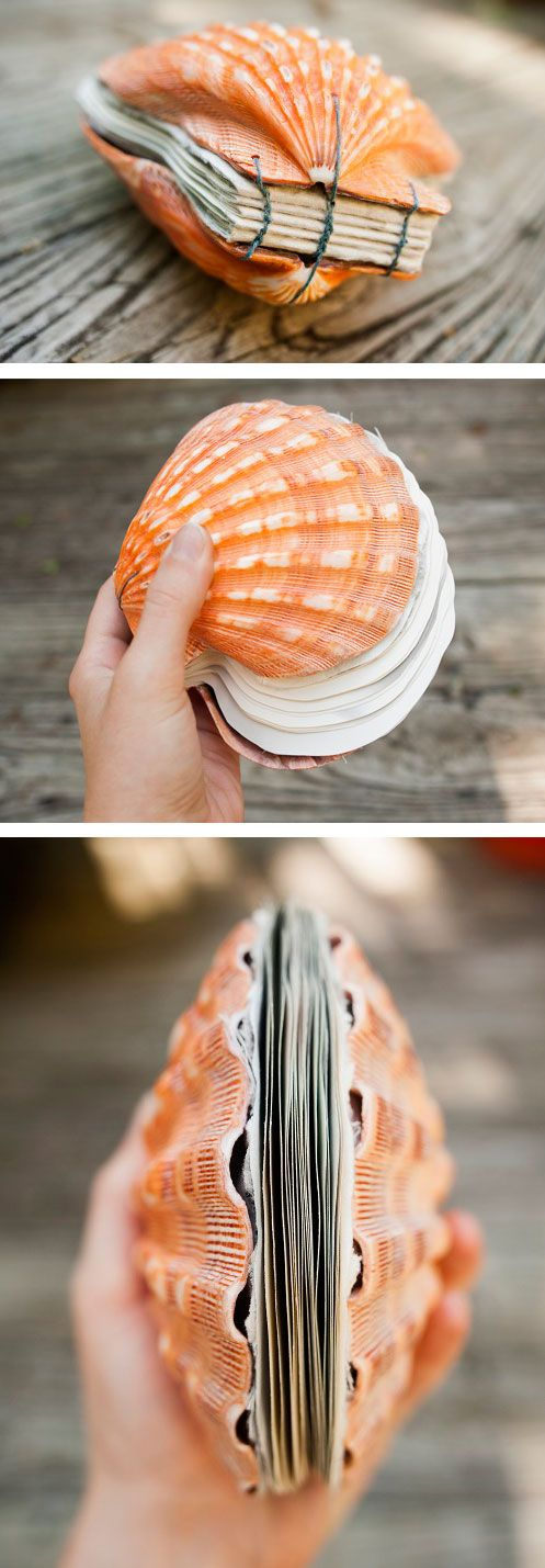 Seashell Bound Book! Perfect use of the extra scallop shells I have lying around...: