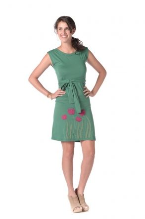 Tulip Belted Dress in Blue Grass synergyclothing.com #organicfashion #synergyorganicclothing