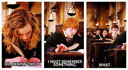 When I take exams... I am all three of them. Hahaha!