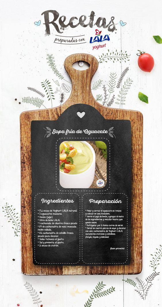 Deliciosa y nutritiva. La #sopa de aguacate con #Yoghurt #LALA natural. ¡Te sorprenderá!