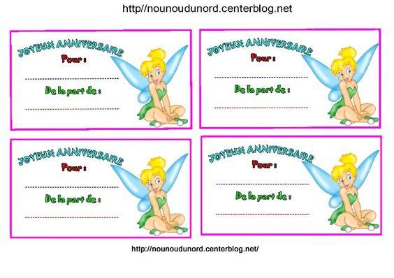 Anniversaire :  Etiquettes, invitations Fée clochettes http://nounoudunord.centerblog.net/4256-fee-clochette-etiquettes-invitations-pour-anniversaire