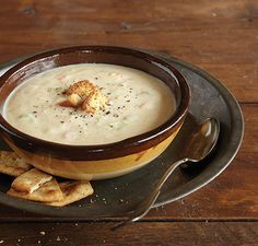 Cream of Potato Soup: 1 1/2 cups milk; 1/3 cup water; 2 small russet potatoes, quartered; 1/2 cup chopped onion; 1 carrot, halved; 1 rib celery, halved; 1 cup cauliflower, cut in pieces; 1 1/2-2 chicken or vegetable bouillon cubes; 1/3 cup vegetable cooking water (see recipe)