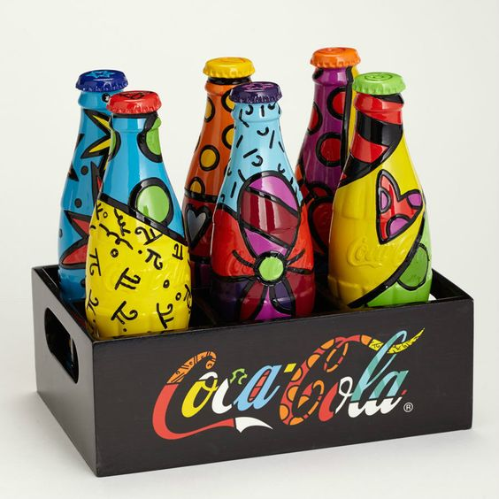 Romero Britto Coca Cola Limited Edition for Coke Bottle Set with Crate Displayer | eBay