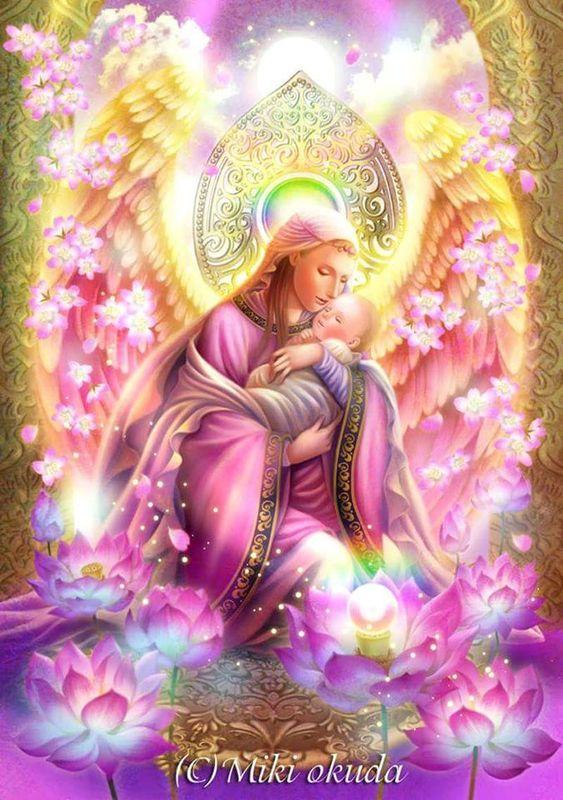 Madre Divina ,acogiendo nuestro Ser Puro. Ángel del Consuelo.