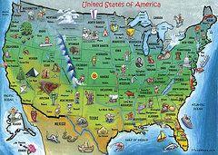 America Cartoon Map Framed Prints - USA Cartoon Map Framed Print by Kevin Middleton