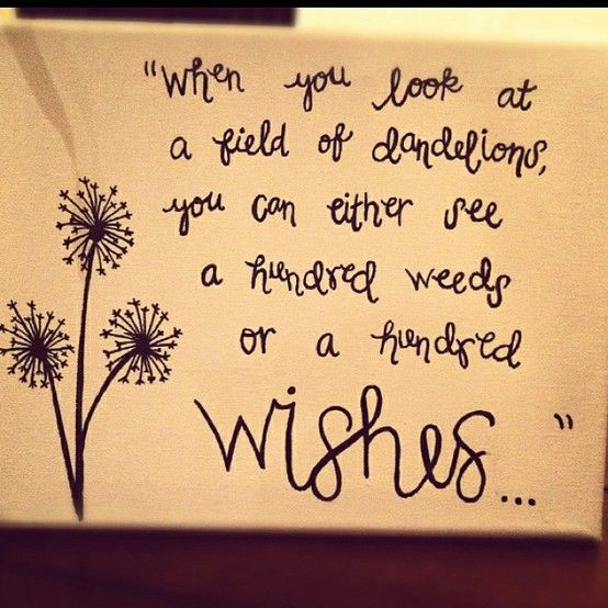 """When you look at a field of dandelions, you can either see a hundred weeds or a hundres wishes..."""