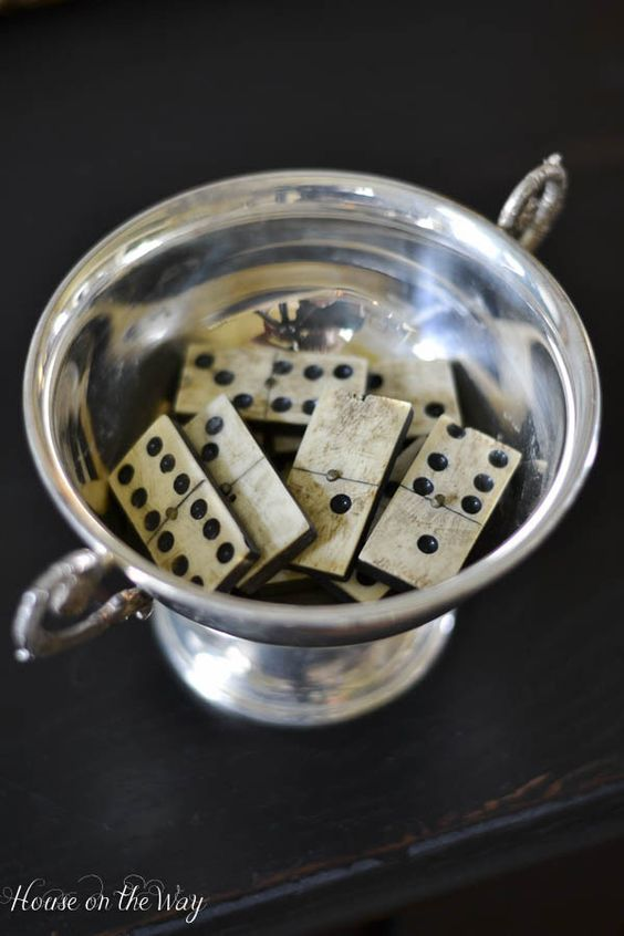 Vintage dominoes in a vintage silver bowl. <3