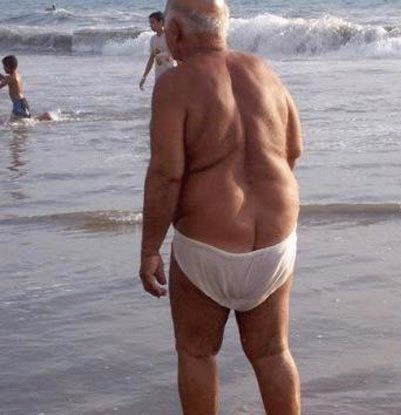 NORMAN... No, no-one on the beach thinks  that your saggy old underpants are white speedos.      No-one!                                           MonacoBeach.co.uk Golden Rule No.5 Ladies, don't forget to check that your man has purchased some suitable new swim shorts or trunks. If necessary, buy some for him - to tone in with your own colour scheme, naturally.  IGNORE  his embarrassing 'ideas for saving money' !!: