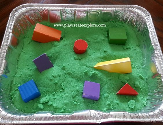 Play Create Explore: Baby Sensory Bin-- Colored Sand and Blocks