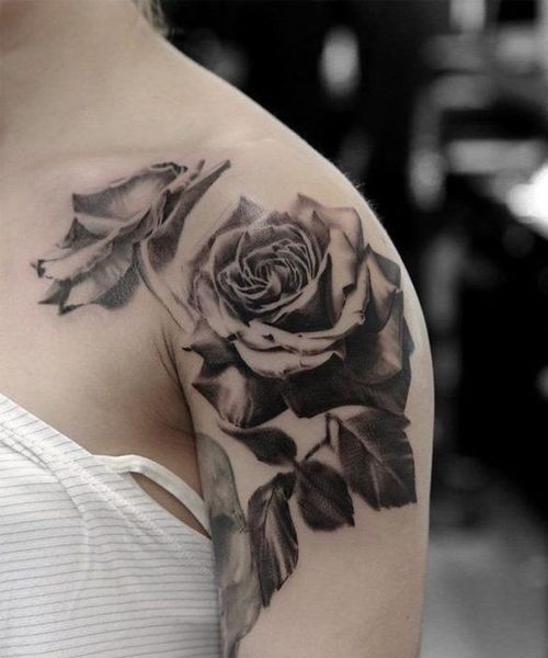 Top 16 Sophisticated Black Rose Tattoo Ideas On Shoulder For Girls And Women Styles Beat Black And White Rose Tattoo Rose Tattoo Design Rose Tattoo