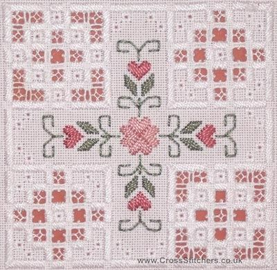... stitched on 22 hpi antique white hardanger fabric this hardanger kit