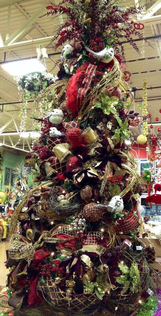 Christmas burgundy gold and brown tree At Arcadia