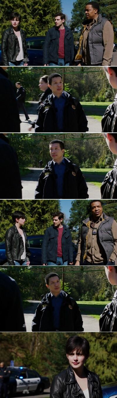 Teresa Rubel along with Nick and Hank ........Sgt Wu is wondering why a girl involved in a murder would be hanging with the cops? She's a GRIMM - Wu...............