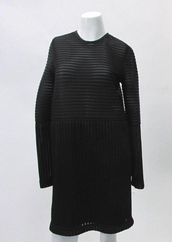 Kenzo Paris Modern Stiff Striped Panel Dress 100 Polyester Made in France | eBay