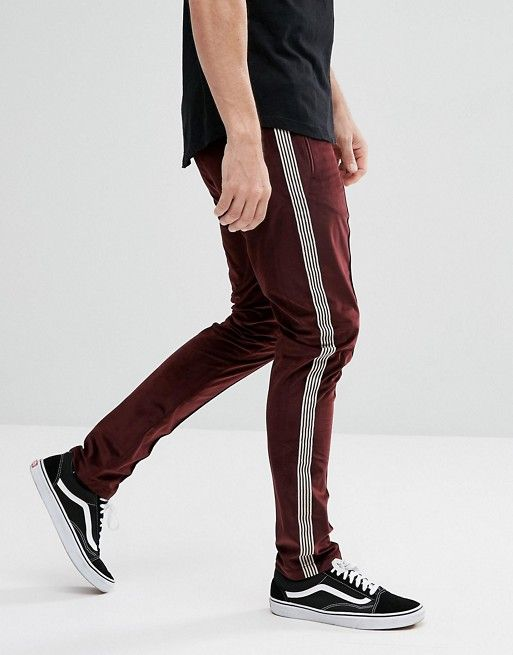 Asos Asos Skinny Burgundy Velour Pants With Side Stripe Velour Pants Mens Sweatpants Pants