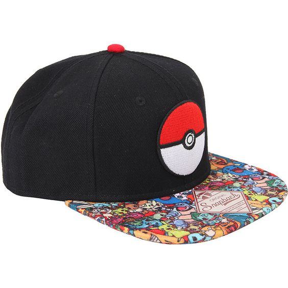 Pokemon Poke Ball Character Bill Snapback Hat Hot Topic ($15) ❤ liked on Polyvore featuring accessories, hats, ball hats, embroidered hats, embroidery hats, adjustable hats and bill hats: