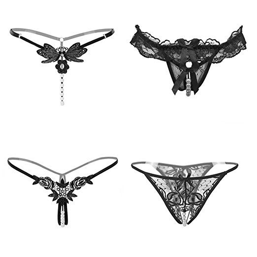 Womens Black Charming Thong Lingerie lace G-String T-Back Panties Strappy Body Harness Panties Gift for Valentine