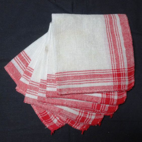 6 Vintage Woven White with Red Trim Luncheon by VictorianWardrobe, $7.00