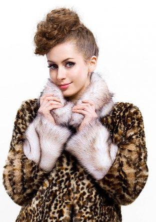 Britney Fashion/coffee leopard grain faux fox fur with faux fox fur collar /long coat