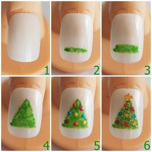 Christmas Tree : Step By Step Easy Nail Art For Kids