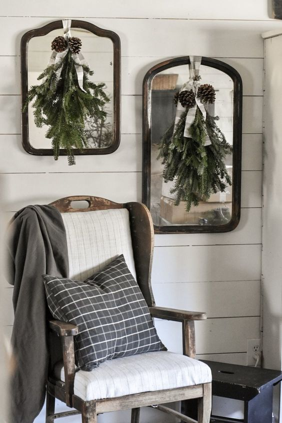 Gathered branches and pine cones come together to create a beautiful, yet simple foraged Christmas swag.