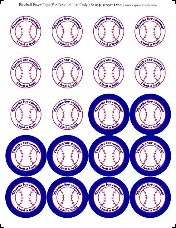 baseball favor tags -- printable
