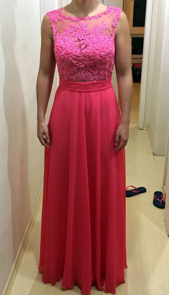 Vestido Longo Rosa com Renda Aplicada -  Long Pink Dress   Siga no instagram @atelierceliavieira