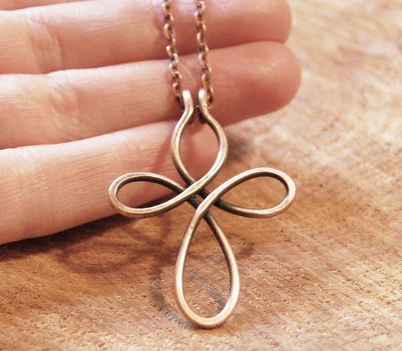Copper Cross Pendant. Oxidized. Celtic. by Karismabykarajewelry, $16.00