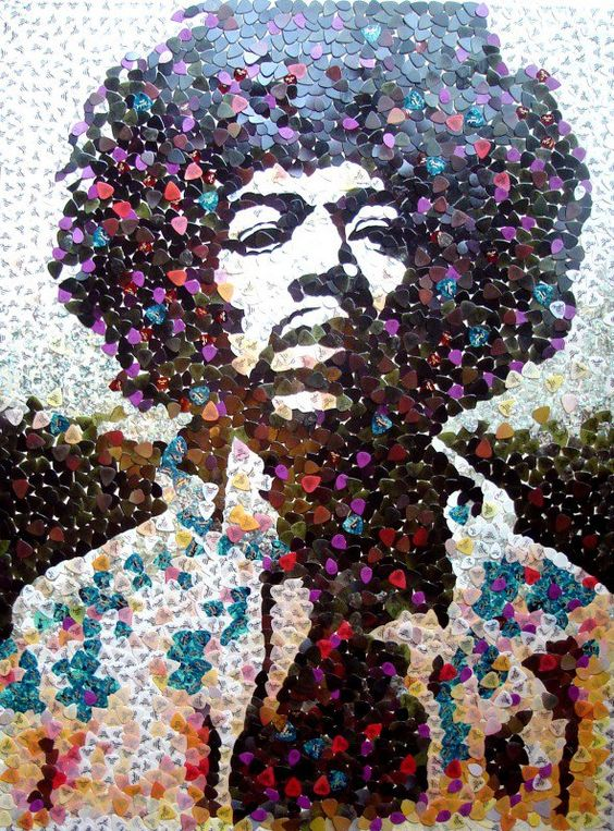 This is a mosaic of Jimi, made entirely from Fender Strat plectrums. The artist, Ed Chapman auctioned it for a UK Cancer charity.