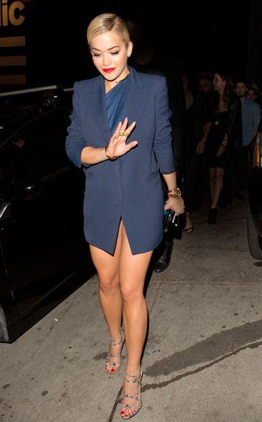 Rita Ora Vionnet dress and jacket, Salvatore Ferragamo clutch West Hollywood January 26, 2014