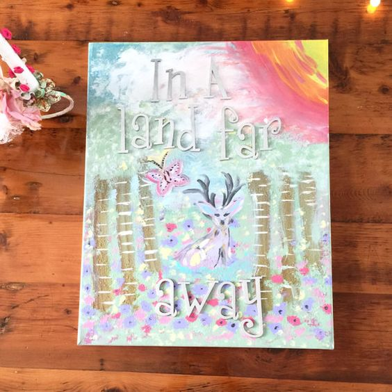In a Land Far Away Wood Letter Canvas by Everafterenchanted