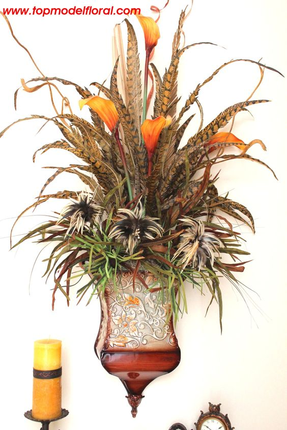 Wall pockets floral arrangements and large flower for Picture arrangements for large walls
